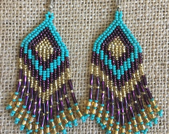 Gold Turquoise and Purple Beaded Pyramid Earrings