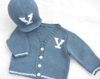 Hand knit cotton baby Yale varsity cardigan with matching cap. Size 6-12 months.