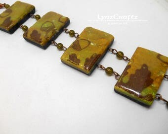 Fall Leaves & Acorns polymer clay  bracelet jewelry cabochon charm handmade One of a Kind