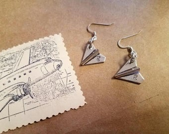 Paper Airplane Earrings with Customizable Stamped Letter