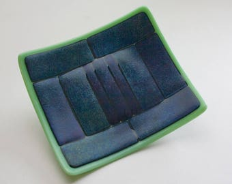 Blue and Purple Iridized Fused Glass Plate