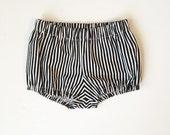 black & white skinny stripe bloomer shorts monochrome bloomers
