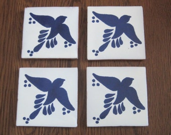 Hand Painted Blue Bird Tile Drink Coaster Vintage Style Mexican Folk Art