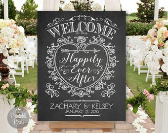 Printable Welcome To Our Happily Ever After Wedding Sign, Chalkboard Style, Personalized with Names and Date (#WEL3C)