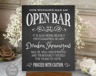 Open Bar Printable Wedding Sign, Chalkboard Style, Funny Bar Sign, Choose Your Size (#OPB1C)