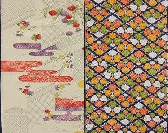 Vintage kimono silk fabric-2 pcs #7420
