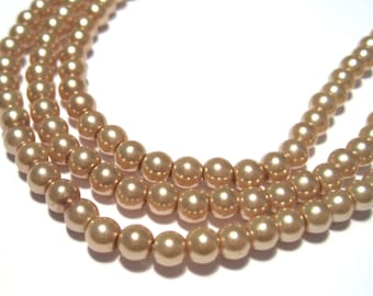 1 strand Brown Glass Pearl Beads 4mm Round No.2