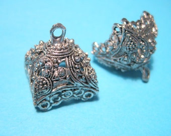 Antique Silver Extra Large Tassel Caps Cone Bead Caps