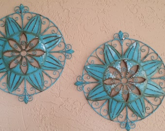 Turquoise And Patina  Hand Painted ,Metal Round  Wall Decors,