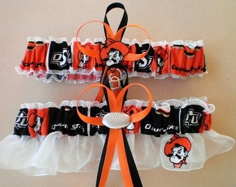 Oklahoma State University Fabric Wedding Garter Set Double Heart Charm Sport