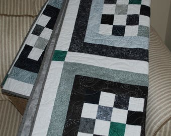 FREE SHIPPING! Guy Squared Quilt, Man Quilt, Grey Black Teal Squares Quilt
