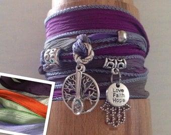 Hamasa Hand Tree of Life Silk Wrap Bracelet, with spoon & Love Faith Hope tag, Spoonies