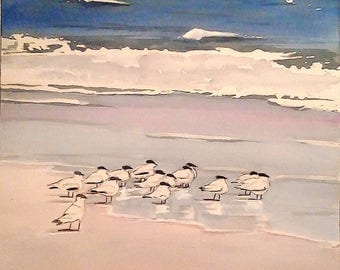 Original 11x17 Watercolor Painting of Seabirds on a Colorful Beach in Florida