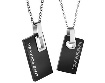 Love Forever - Engraved Necklaces for Her / Personalized Necklaces for Him / Couples Necklaces / Custom Engraved