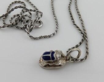 Vintage Egyptian Scarab Enamel Sterling Necklace.