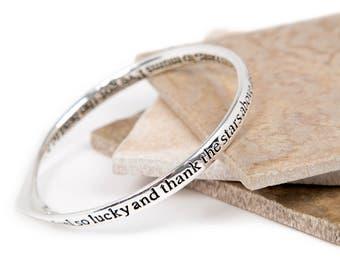 Stars Above Friendship Message Bangle-Slogan Bangle-Silver plated Bangle