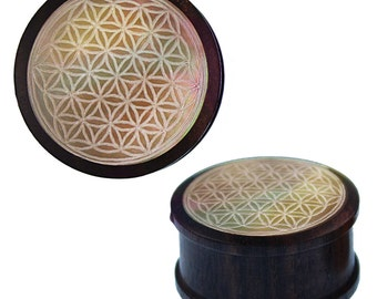 Wood plug mother-of-Pearl inlay engraving flower of life carved tribal tunnel Expander (No. HPT-205)