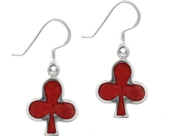 Coral earrings cross deck red 15 mm 925 Sterling Silver earrings coral (REF. No. OK-95)