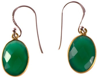 Silver earrings plated oval stone Onyx green faceted earrings 925 Sterling Silver (No. OSG-66)