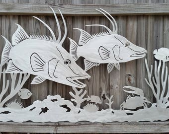 Salt Life, Hogfish twins, Hogfish, metal fish art, sculpture, underwater scene, fish mount, beach house decor