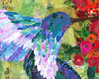 8x8 Print - Hummingbird - Painted Paper Collage