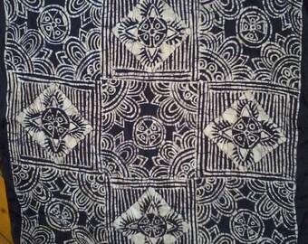 Vintage batik scarf 100% natural silk