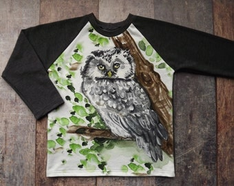 Owl Shirt -Toddler Owl Shirt -Woodland Animal Shirt -Euro Knit -Children's Clothing -Owl Tee - Bird Lover Gift - Owl -CPSC Compliant