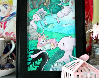 "4x6 ""Mew Forest"" Kawaii Pastel Fan Anime Illustration Art Print"