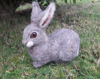 OOAK needle felted grey bunny rabbit
