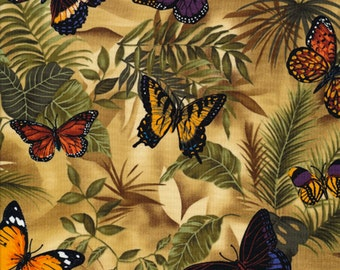 Butterflies on Leaves Fabric Fat Quarter, Third Yard, Half Yard, or By-The-Yard; C3518; Timeless Treasures