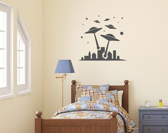 Wall Decal, Alien Invasion, UFO Attack, UFO Wall Stickers, Alien Wall Decal, Alien Stickers, Bedroom Wall Stickers, Wall Sticker, UFO