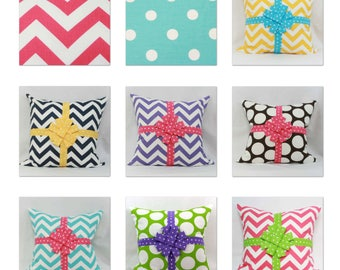 "Mix & match decorative throw pillow with ribbon and bow. 18' x 18"" children's/girl's pillow.nursery pillow."