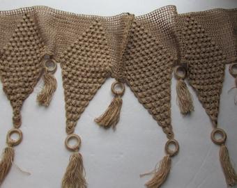 SALE! Cottage Style Runner Vintage Mantle Scarf Ecru Crochet Runner Victorian Style Crochet Tassels and Crochet Vintage Handiwork Hand Made