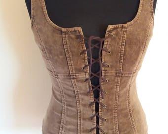 Vintage Brown Corduroy Womens Top Small/ Medium Size
