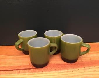 Fire King Vintage Midcentury Olive Green Mugs (Set of 4)