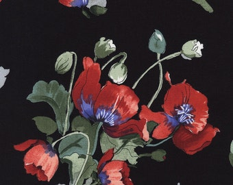 1/2 Yard Timeless Treasure Fresh Cut Poppies Bunches Black by Michele D'Amore