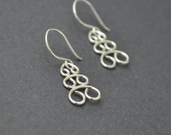 Christmas Tree Earrings, Sterling Silver Dangle Earrings