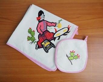 Vintage Embroidered Cotton Tea Towel and Pot Holder | Retro Vintage Kitchen, Camper, Travel Trailer Decor