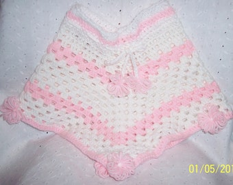 Girl Pink and White Poncho warm - soft - lite weight Unique Handmade
