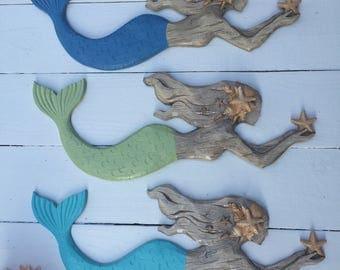 LARGE MERMAID DECOR/Nautical decor/Coastal/Beach Decor/Mermaid/Ocean wall Decor/Beach bathroom decor/Painted Mermaid/Swimming Mermaid/Aqua