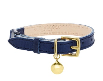 Navy Blue Leather Cat Collar with Breakaway Buckle