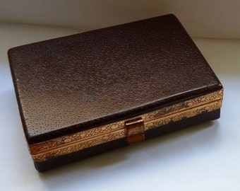 Vintage leather jewelry storage box case wales