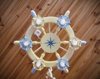 nautical chandelier / chandelier steering wheel / wooden chandelier / sea chandelier