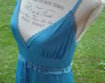 Shabby chic vintage Nightgown celeste blue nightgown sea sensual sexy romantic sky sea bride chic woman nightgown