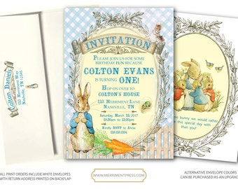 Peter Rabbit Birthday Invitation / Peter Rabbit Invite / First Birthday // Vintage // Any Age // Blue Gingham // One // NASHVILLE COLLECTION