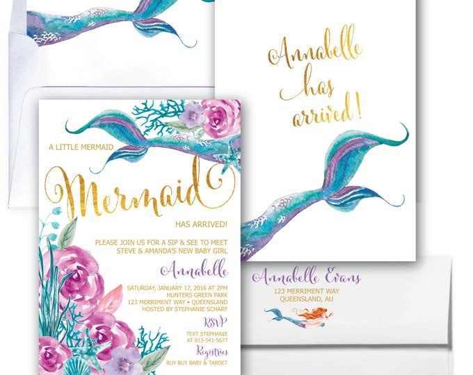 Mermaid Sip & See Invitation // Under the Sea Invitation // Watercolor // Gold // Floral // Girls // Purple // QUEENSLAND COLLECTION