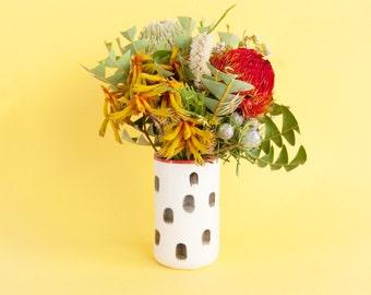 Jane splotched porcelain vase with red highlights