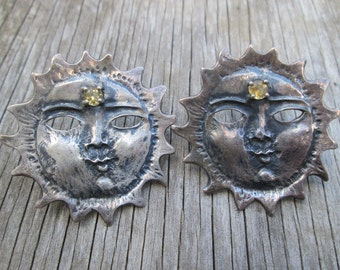 Vintage Chunky sterling Silver Citrine Sun Face Stud Earrings