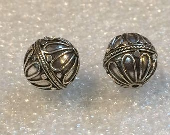 20% OFF SALE Bali Sterling Silver 11mm Round Ornate Focal Bead #1107 - (1)