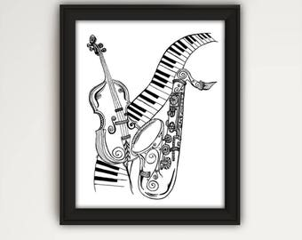 Music Lovers Print, Musical Instruments Drawing, Keyboard Print, Line Drawing, Black and White Art, Music Print, Saxophone Drawing P1033